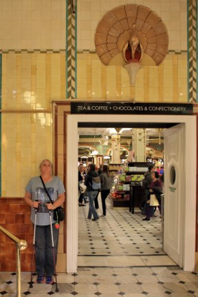 Harrods with Judi at the door to Chocolates & tea section