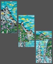 Sea to Sky (triptych), size 3x 24x48 in., canvas giclée print available in size L1,L2 each