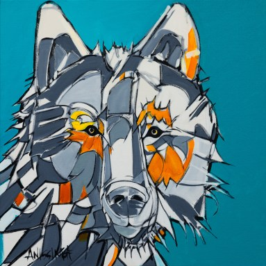 Surface Series - Wolf, size 24x24in., original sold, canvas giclée prints available in size S1,S2