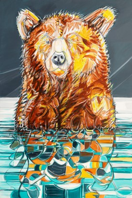 Reflection Bear, original size 48x72 in., original sold, canvas giclée print available in size R5