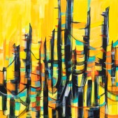 Abstract Sunset Trees, original size 36x36 in., original $1700, canvas giclée print available in sizes S1,S2,S3,S4