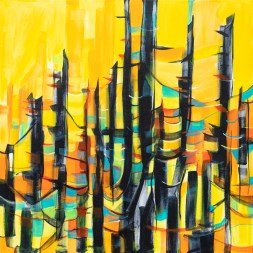 Abstract Sunset Trees, original size 36x36 in., original not available, canvas giclée print available in sizes S1,S2,S3,S4