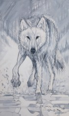 Flanker Wolf, original size 36x60 in., original $5500, canvas giclée print available in sizes R5,R9,R11