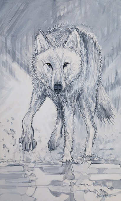 Flanker Wolf, original size 36x60 in., original sold, canvas giclée print available in sizes R5