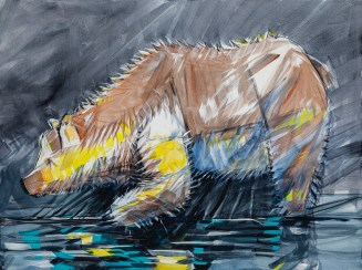 Fisher Bear, size 36x48 in., original $3300, canvas giclée print available in size R3,R6,R7