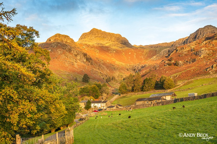 The glow of sunrise on Harrison Stickle