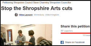 For want of a nought the arts grant was (almost) lost in Shropshire – please sign the petition