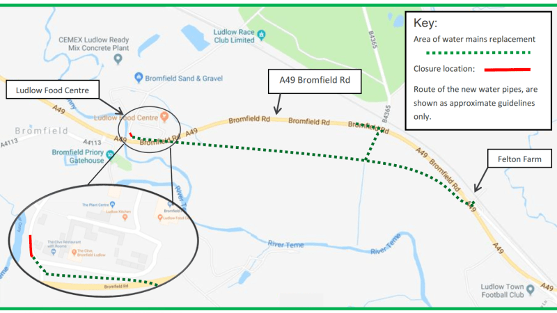 Severn Trent to replace water pipes along A49 between Ludlow & Bromfield in January (updated)