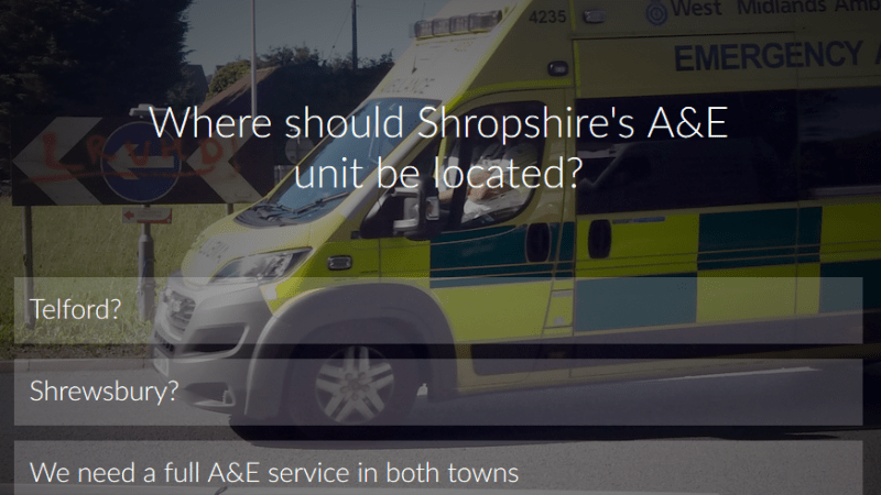 Should we have an A&E unit in Shrewsbury or Telford or in both towns? Vote now…