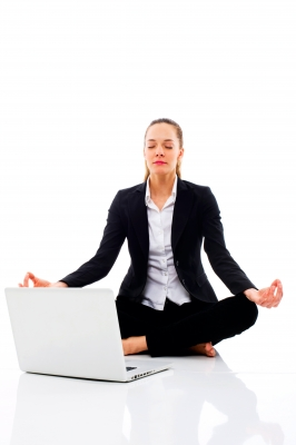 Businesswoman meditating, for The Frugal Parson on Zenware