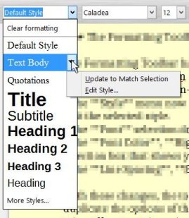 The Dropdown Styles choices from the Formatting Toolbar