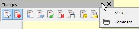 LibreOffice - Changes toolbar with menu