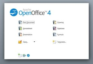Apache OpenOffice's startup screen is much more basic.