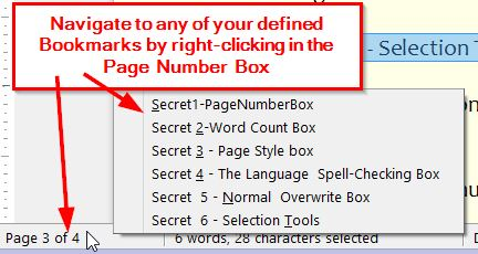 Selecting Bookmarks from the Page tool