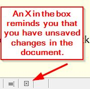 Saved / Unsaved changes box
