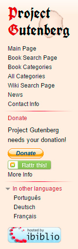 Project Gutenberg sidebar