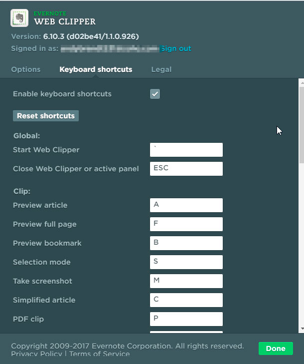 Evernote Clipper Keyboard Shortcuts