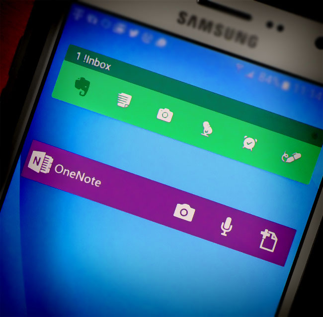 OneNote and Evernote toolbars on phone