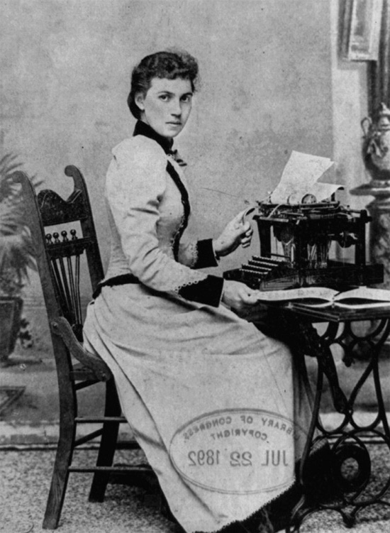 1892 image of woman at typewriter