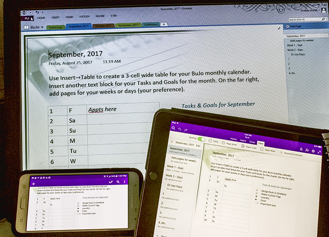 OneNote Bullet Journal on 3 screens