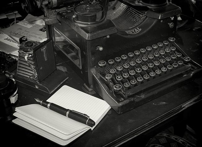 desktop tableaux with Bullet Journal notebook