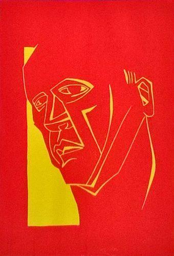 Red Head Reduction Linocut