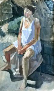 Seated Figure in Garden
