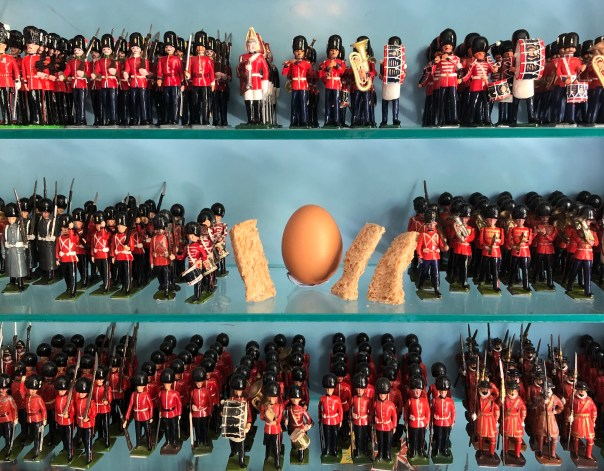 Soft boiled egg with bread soldiers and lead soldiers