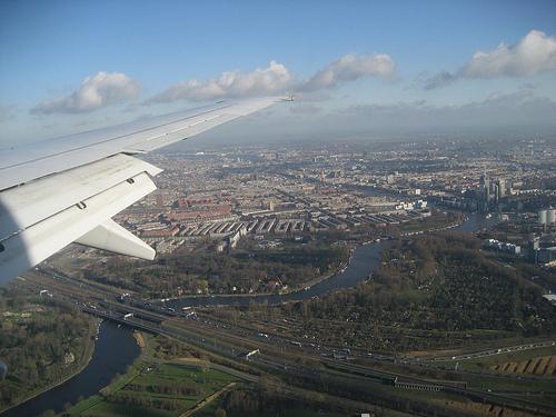 Flying into Amsterdam