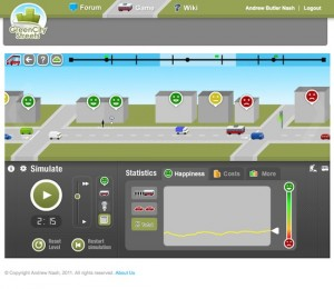 Screen shot from GreenCityStreets Busmeister public transport operations game.