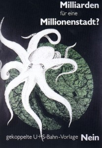 Campaign poster opposing combined S- and U-Bahn network in 1973.