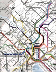 Schematic map of Zurich's city transit network.