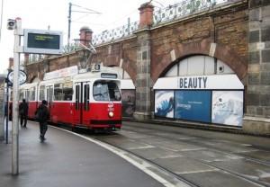 Tram stopping at Gumpendorfer Strasse U-6 station Vienna.