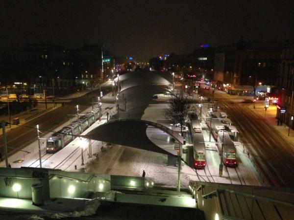 Urban Loritz Platz tram station from Vienna Main Library, February 2013.