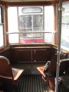 Vienna old tram: first seats in trailer car ... best views!