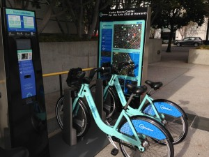 Bay Area Bike Share station at 3rd and Howard streets in San Francisco.