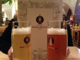 Light and dark beer at the Rathaus Brauerei Lucerne