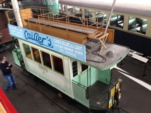 Historic tram at the Swiss Transport Museum in Lucerne.