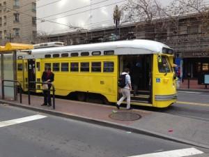Historic tram on Market Street San Francisco (2015).