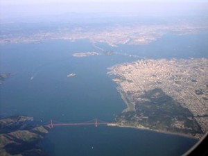 Aerial photo of Golden Gate Bridge and San Francisco Northern Waterfront.