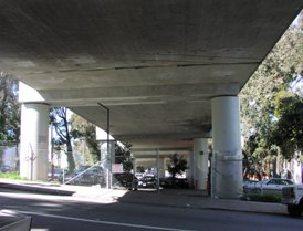 Under the Central Freeway in San Francisco.