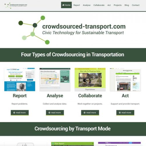 Website describing the use of crowdsourcing for public involvement in transport planning. Presents a structure and examples of sensors, apps, games, sensors and other types of crowdsourcing.