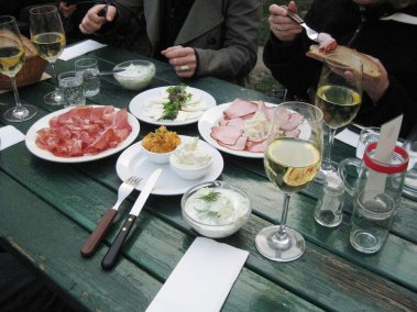 Photo of wine and food at Vienna heurigen