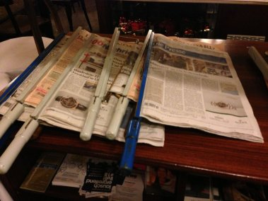 Photo of newspapers at Cafe Braunerhof Vienna