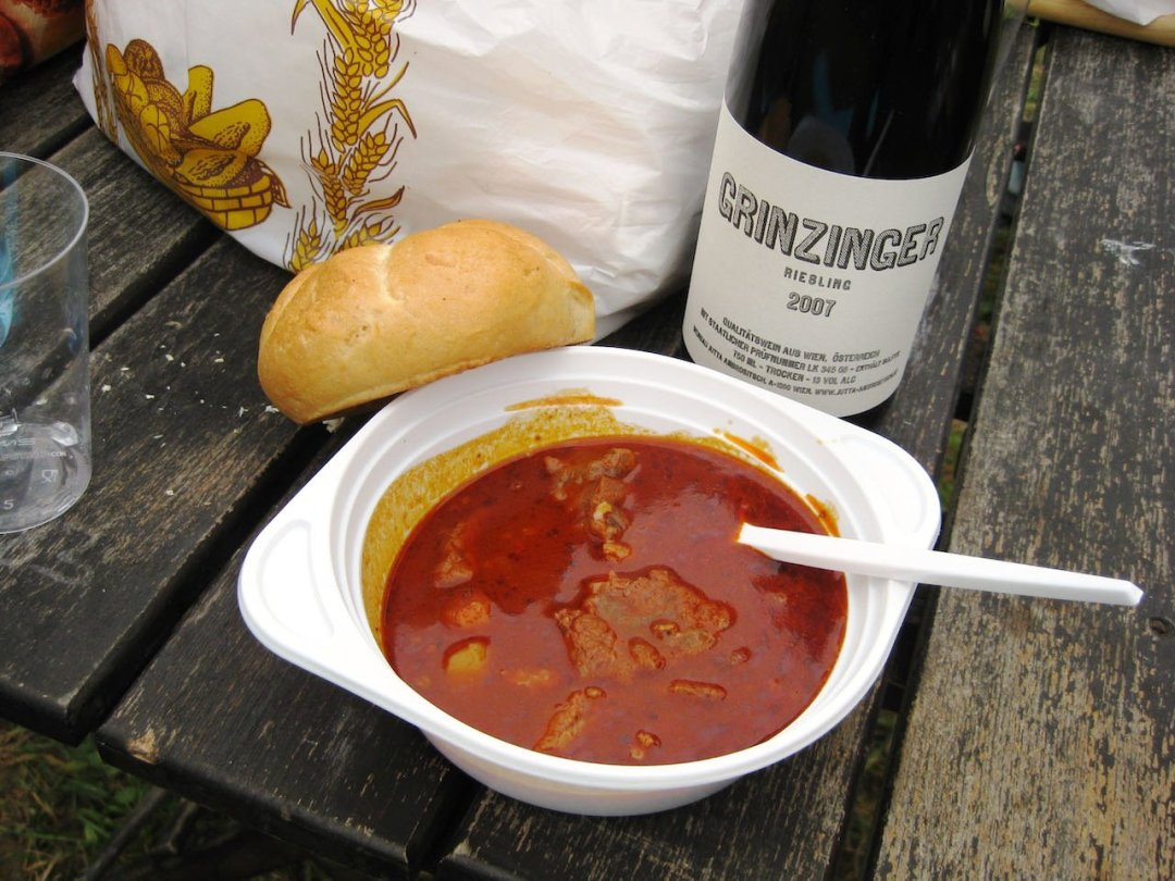 Photo of goulash soup, semmel and bottle of wine in Vienna