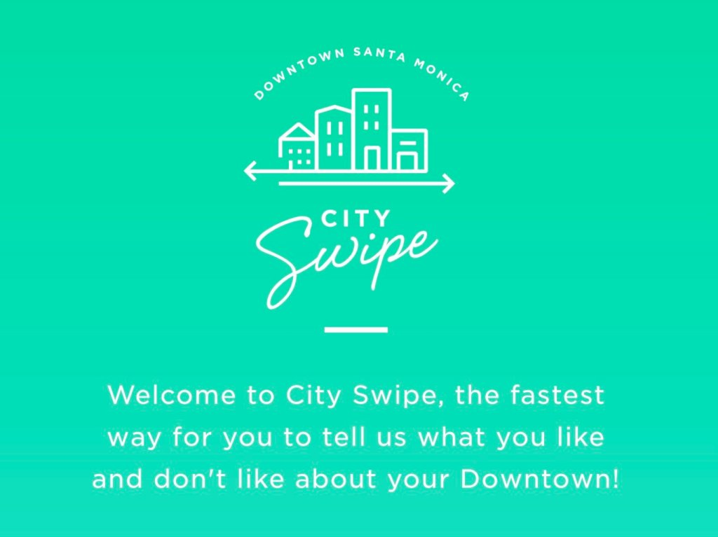 Screenshot of Santa Monica City Swipe App (2017).