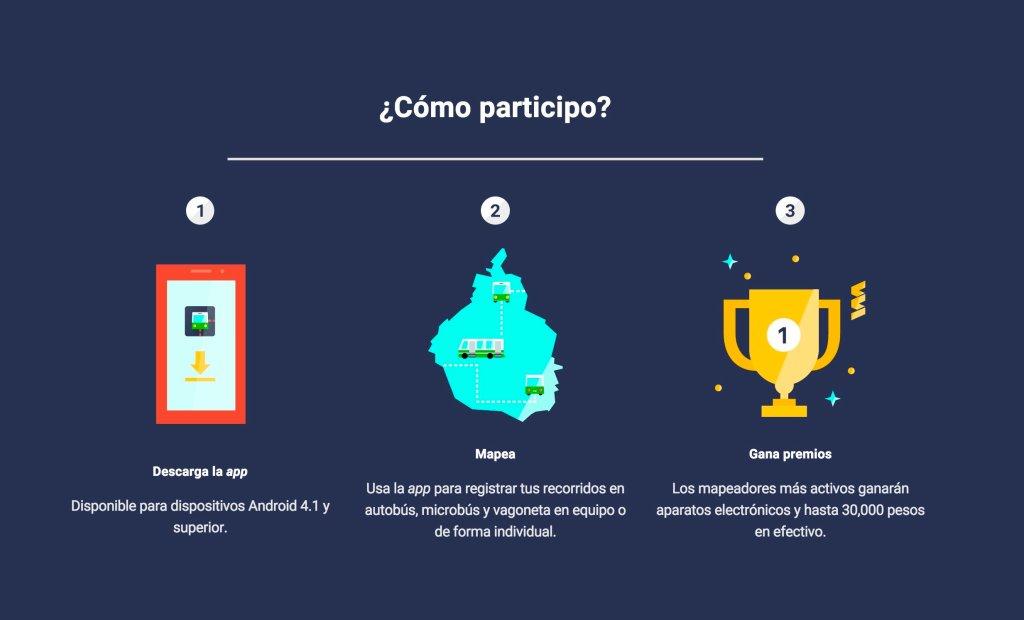 Screenshot of Mapaton transport crowdsourcing website (Mexico City) website (2017).