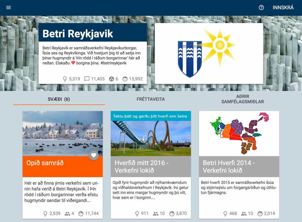 Screenshot of Better Reykjavik website (2017).