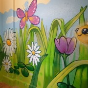 graffiti bee and daisies
