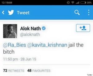 Alok Nath's tweet against Kavita Krishnan